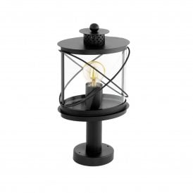 94864 Hilburn Single Light Outdoor Pedestal Light In Black Finish With Clear Acrylic Shade
