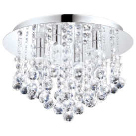 94878 Almonte 4 Light Semi Flush Bathroom Ceiling Fitting in Polished Chrome Finish With Crystal Beads