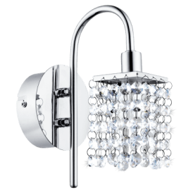 94879 Almonte Single Light Bathroom Wall Fitting In Polished Chrome Finish With Crystal Glass Beads