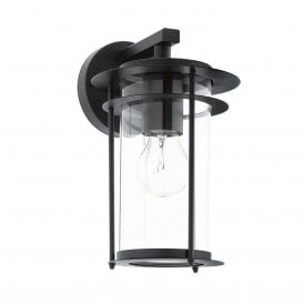 96239 Valdeo Single Light Wall Fitting In Black Finish With Clear Glass Shade