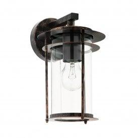 96241 Valdeo Single Light Wall Fitting In Antique Copper Finish With Clear Glass Shade
