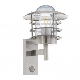 96402 Mouna Single Light Wall Fitting In Stainless Steel Finish With PIR Sensor