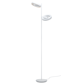 96659 Alvendre LED Touch Operated Floor Lamp In White And Polished Chrome Finish