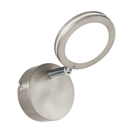 97067 Karystos LED Wall Fitting In Satin Nickel And White Acrylic Finish