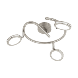 97069 Karystos LED 3 Light Ceiling Fitting In Satin Nickel And White Acrylic Finish