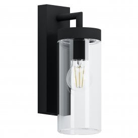 97261 Bovolone Single Light Wall Fitting In Black Finish With Clear Glass Shade