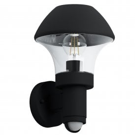 97445 Verlucca Single Light Outdoor Wall Fitting in Black Finish With PIR Sensor