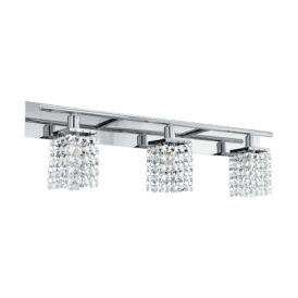 97748 Arequito 3 Light Bathroom Wall Fitting In Polished Chrome Finish With Crystal Glass Beads