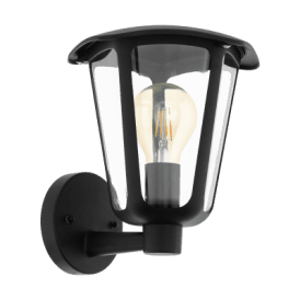98119 Monreale Single Light Outdoor Wall Fitting In Black Finish With Clear Acrylic Shade