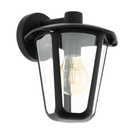 98121 Monreale Single Light Outdoor Wall Fitting In Black Finish With Clear Acrylic Shade