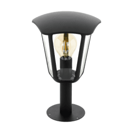 98122 Monreale Single Light Outdoor Pedestal Light In Black Finish With Clear Acrylic Shade