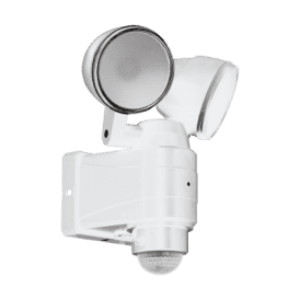98194 Casabas 2 Light LED Battery Operated Outdoor Spotlight In White Finish With PIR Sensor
