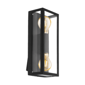 'Alamonte 1' Twin Light Outdoor Wall Fitting In Black Finish