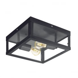 Alamonte 1 Two Light Outdoor Flush Porch Light In Black Finish
