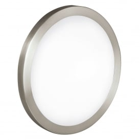 Arezzo 2 Light Large Flush Ceiling Or Wall Fitting In Satin Nickel Finish With Satinated Glass