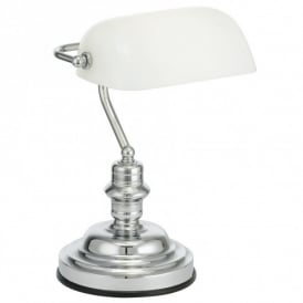 Bankers Lamp in Polished Chrome Finish with Pull Cord Switch
