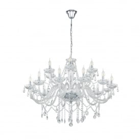 Basilano 1, 18 Light Ceiling Chandelier In Polished Chrome And Clear Glass Finish