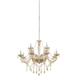 Basilano 12 Light Ceiling Chandelier In Polished Chrome And Cognac Glass Finish