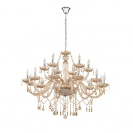Basilano 18 Light Ceiling Chandelier In Polished Chrome And Cognac Glass Finish