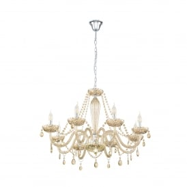 Basilano 8 Light Ceiling Chandelier In Polished Chrome And Cognac Glass Finish