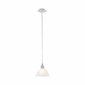 4483a5346de Brenda Single Light Ceiling Pendant In Satin Nickel Finish With Alabaster  Glass