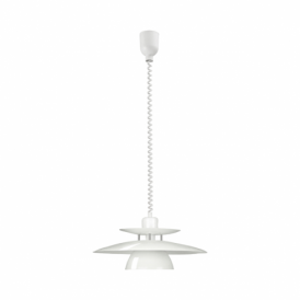 Brenda Single Light Rise And Fall Ceiling Pendant In White Finish