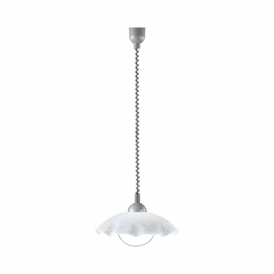 Brenda Single Light Rise And Fall Pendant In Silver Finish With Satinated Glass Shade
