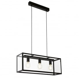 Charterhouse 3 Light Steel Ceiling Pendant in Black Finish and Clear Glass