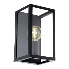 Charterhouse Single Light Steel Wall Fitting in Black Finish and Clear Glass