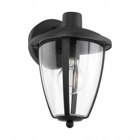 Comunero 2 Outdoor Wall Fitting In Black Finish With Clear Acrylic Shade