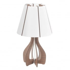 Cossano Single Light Table Lamp In White Finish With Dark Brown Wood Base