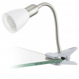 Dakar 3 Single Light LED Clip On Table Lamp In Polished Chrome Finish With White Acrylic Shade