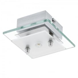 Fres 2 LED Single Light Square Wall and Ceiling Fitting in Polished Chrome