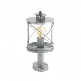 Hilburn 1 Single Light Outdoor Pedestal Light In Antique Silver Finish With Clear Acrylic Shade