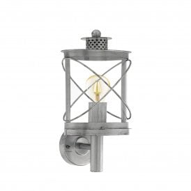 Hilburn 1 Single Light Outdoor Wall Fitting In Antique Silver Finish With Clear Acrylic Shade