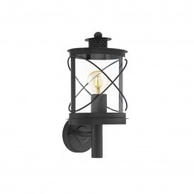 Hilburn Single Light Outdoor Wall Fitting In Black Finish With Clear Acrylic Shade
