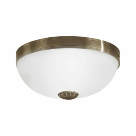 Imperial 2 Light Semi Flush Ceiling Or Wall Fitting In Bronze Finish With White Glass Shades