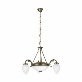 Imperial 5 Light Ceiling Fitting In Bronze Finish With White Glass Shades