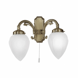 Imperial Double Light Switched Wall Fitting In Bronze Finish With White Glass Shades