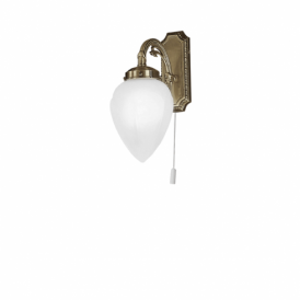Imperial Single Light Switched Wall Fitting In Bronze Finish With White Glass Shades