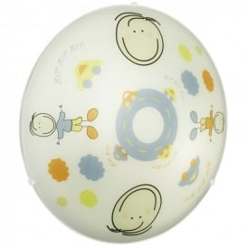 Junior 2 Light Children's Flush Fitting with Boy Cartoon Design