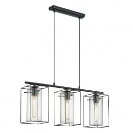 Loncino 3 Light Steel Ceiling Pendant in Black Finish and Smoked Glass