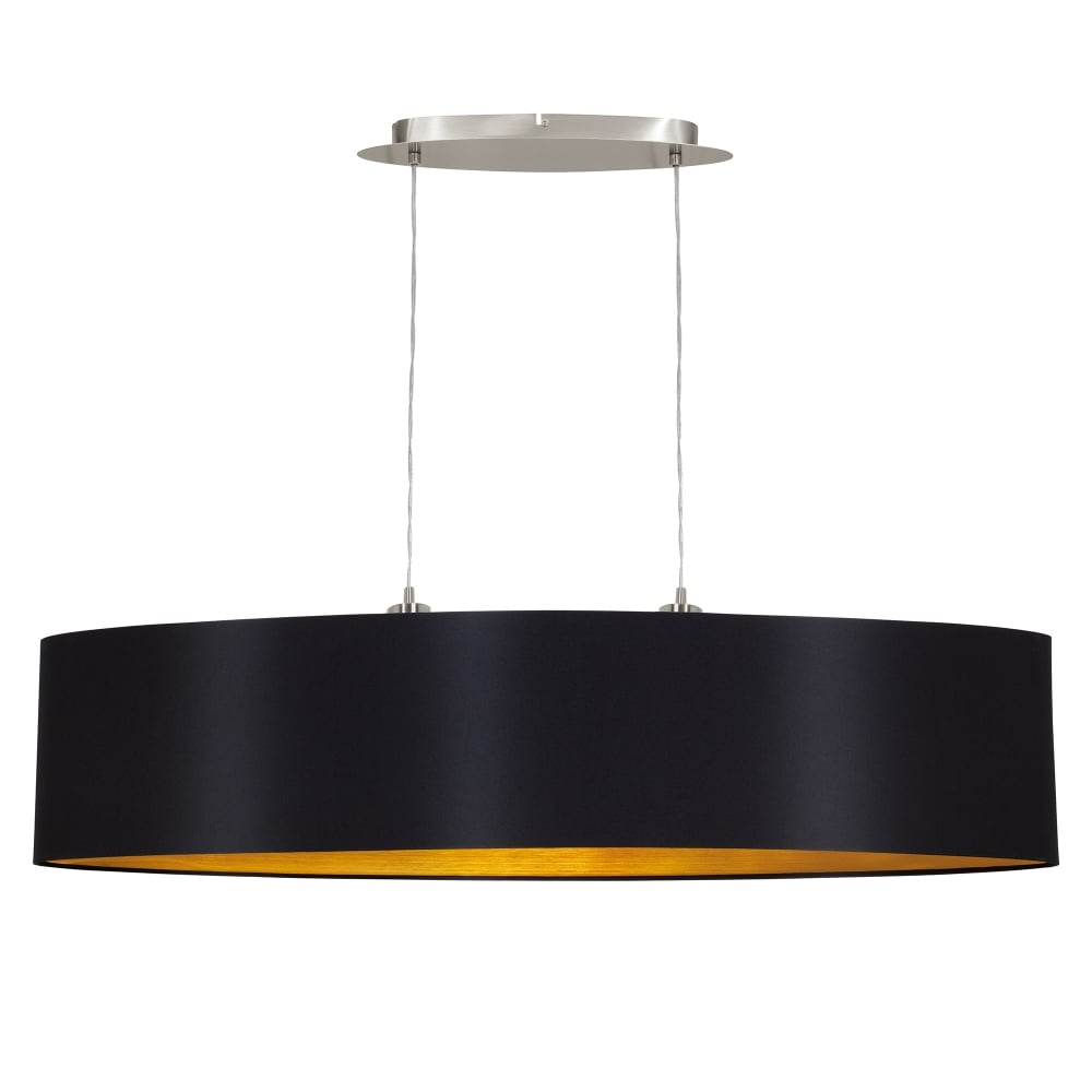 Maserlo 2 Light Large Ceiling Pendant In Satin Nickel Finish With Black Fabric Shade And Gold