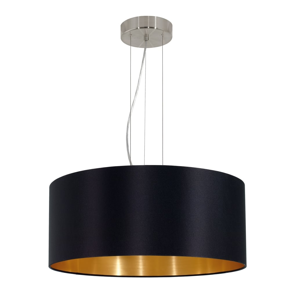 Maserlo Large 3 Light Ceiling Pendant In Satin Nickel Finish With Black Fabric Shade And Gold