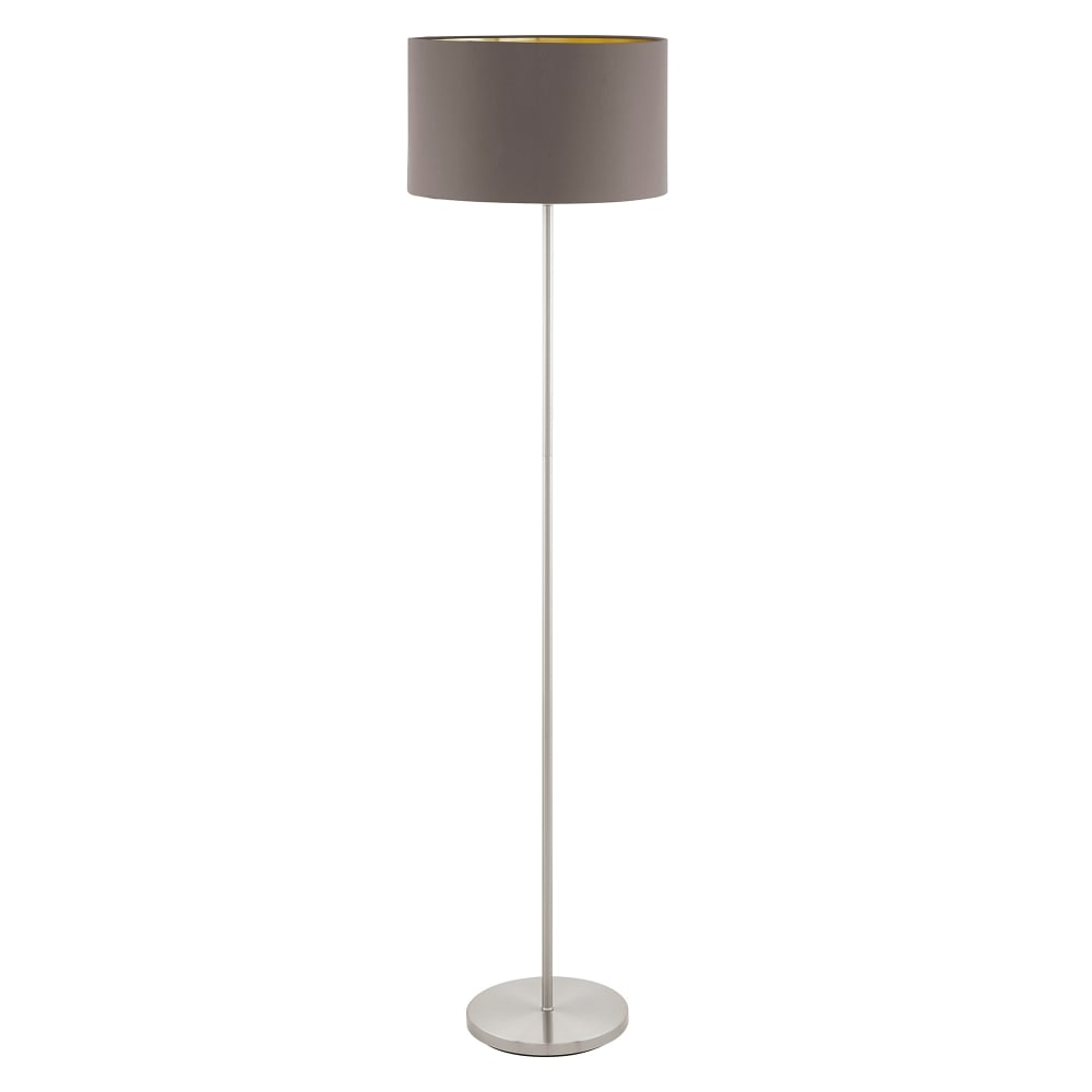 Maserlo single light floor lamp in satin nickel finish with cappuccino fabric shade and gold lining