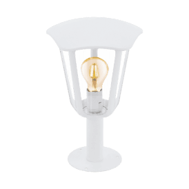 Monreale Single Light Outdoor Pedestal Light In White Finish With Clear Acrylic Shade