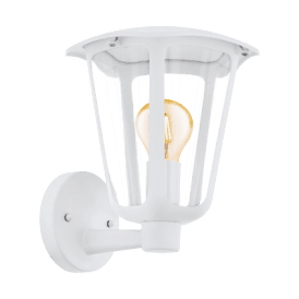Monreale Single Light Outdoor Wall Fitting In White Finish With Clear Acrylic Shade