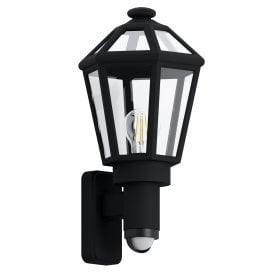 Monselice Single Light Outdoor Wall Fitting In Black Finish With PIR Sensor
