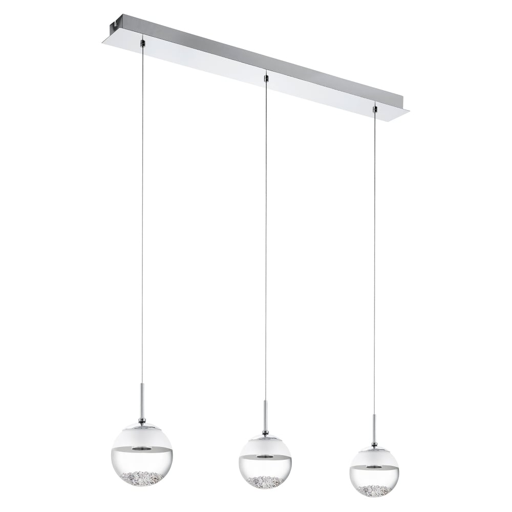 quality design 19156 0d6a4 Montefio 1 LED 3 Light Ceiling Pendant In Polished Chrome And Crystal Finish