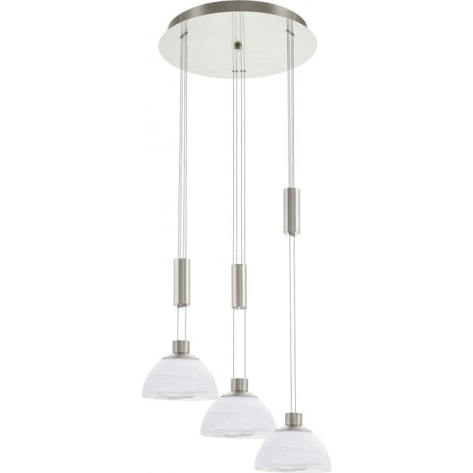 new product b2555 f5a42 Eglo Lighting Montefio 3 Light LED Rise And Fall Ceiling Pendant In Satin  Nickel Finish Circular Plate